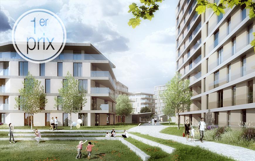1er prix au concours de logements Les Fiches Nord à Lausanne